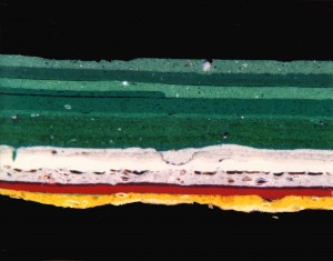 Cross section of paint chips for analysis by light microscopy