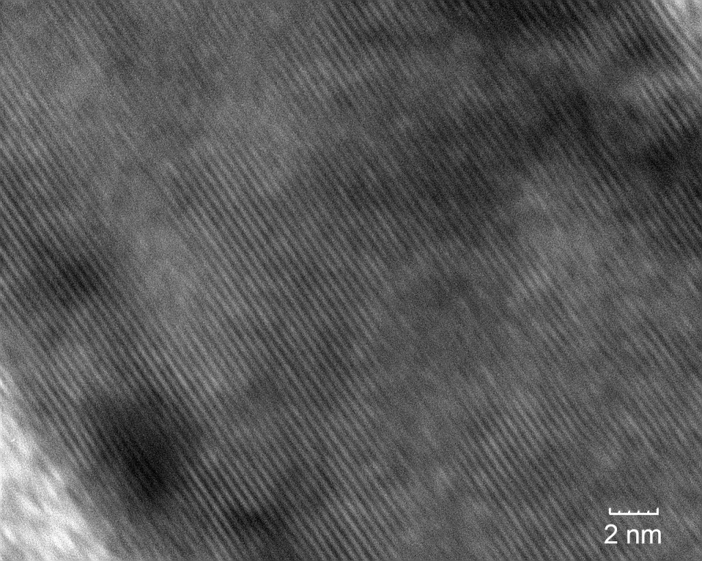 TEM image of TiO2 at 750k